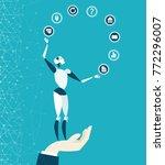robot rolling communication... | Shutterstock .eps vector #772296007
