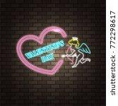 angel cupid. neon happy...   Shutterstock .eps vector #772298617