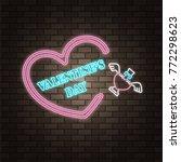 love potion glass bottle. neon...   Shutterstock .eps vector #772298623