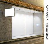 empty store window  shop sign...   Shutterstock . vector #772299697