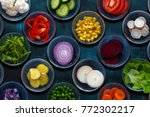 various sliced vegetables... | Shutterstock . vector #772302217