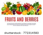 fruit and berry poster of fresh ... | Shutterstock .eps vector #772314583
