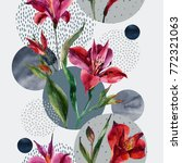 abstract floral and geometric...   Shutterstock . vector #772321063