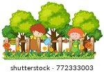 kids playing in the garden | Shutterstock .eps vector #772333003