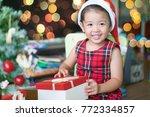 little asian girl smile and... | Shutterstock . vector #772334857