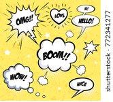 a set of comic speech bubbles... | Shutterstock .eps vector #772341277