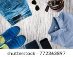 casual men s clothing for fall  ... | Shutterstock . vector #772363897
