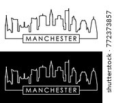 manchester skyline. linear... | Shutterstock .eps vector #772373857