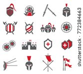 warrior and war icon set | Shutterstock .eps vector #772384663