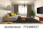 interior living room. 3d... | Shutterstock . vector #772388527