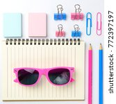 stationary concept  flat lay... | Shutterstock . vector #772397197