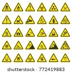 hazard warning signs  caution... | Shutterstock .eps vector #772419883