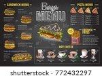 vintage chalk drawing burger... | Shutterstock .eps vector #772432297