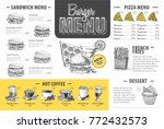 vintage burger menu design.... | Shutterstock .eps vector #772432573