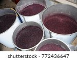 Small photo of Grapes fermentation, grapes crushed and let to ferment in metal containers before being put in vats.