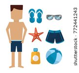 man standing with swimsuit... | Shutterstock .eps vector #772441243