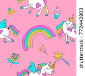 seamless pattern with cute... | Shutterstock .eps vector #772442803