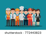 workers people group different... | Shutterstock .eps vector #772443823