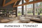 living room of luxury eco house ... | Shutterstock . vector #772465627