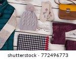 set of handmade hat and mittens.... | Shutterstock . vector #772496773