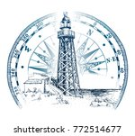 hand drawn lighthouse with sea...   Shutterstock .eps vector #772514677