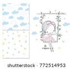 little girl on the swing.... | Shutterstock .eps vector #772514953