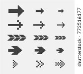 black pixel arrows set vector... | Shutterstock .eps vector #772516177