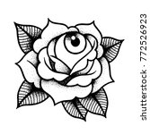 old school rose tattoo with eye.... | Shutterstock .eps vector #772526923