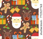 christmas seamless pattern and... | Shutterstock .eps vector #772527763