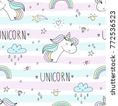 cute hand drawn unicorn vector... | Shutterstock .eps vector #772536523