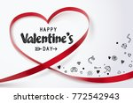 red heart ribbon and happy... | Shutterstock .eps vector #772542943