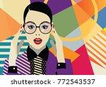 fashion girl in style pop art... | Shutterstock .eps vector #772543537