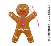 joyful gingerbread man holding...   Shutterstock . vector #772550287