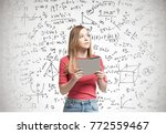 young blonde woman wearing a...   Shutterstock . vector #772559467