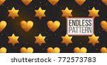 gold polygonal shape  heart and ... | Shutterstock .eps vector #772573783