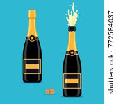 open and closed champagne... | Shutterstock .eps vector #772584037