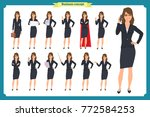 set of young businesswoman...   Shutterstock .eps vector #772584253