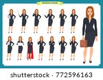 set of young businesswoman... | Shutterstock .eps vector #772596163