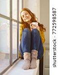 young woman enjoying a moment... | Shutterstock . vector #772598587