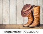 wild west retro cowboy hat and... | Shutterstock . vector #772607077
