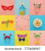 collage of purim celebration... | Shutterstock . vector #772608967