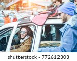 rich friends arrived at winter... | Shutterstock . vector #772612303