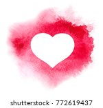 watercolor heart on red... | Shutterstock .eps vector #772619437