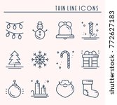 christmas holiday thin line... | Shutterstock .eps vector #772627183