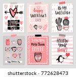 valentine s day card set   hand ... | Shutterstock .eps vector #772628473