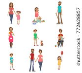 parents and their kids set  mom ... | Shutterstock .eps vector #772628857
