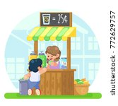 lemonade booth with happy... | Shutterstock .eps vector #772629757