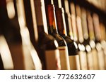 wine cellar with elite drinks... | Shutterstock . vector #772632607