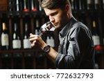 bokal of red wine on background ... | Shutterstock . vector #772632793