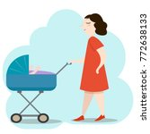beautiful young mother in red...   Shutterstock .eps vector #772638133